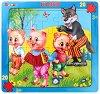 Трите прасенца - Пъзел в картонена подложка -
