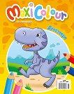 Maxi Colour: Динозаври + стикери - книга