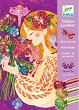 Оцветявай с брокат - Красиви цветя - Творчески комплект за рисуване -