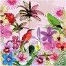 Салфетки за декупаж - Тропически цветя и птици - Пакет от 20 броя -