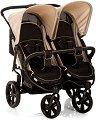 Комбинирана бебешка количка за близнаци - Roadster Duo SLX: Caviar Almond - С 4 колела -
