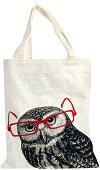 Текстилна чанта за книги - Бухал -