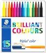 Флумастери - Brilliant Colours 323 - Комплект от 15 или 30 цвята в метална кутия -