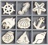 Дървени фигурки - Морски рай - Комплект от 45 броя в кутия -