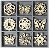 Дървени фигурки - Пеперуди и цветя - Комплект от 45 броя в кутия -