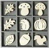 Дървени фигурки - Таралеж - Комплект от 45 броя в кутия -