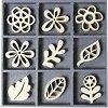 Дървени фигурки - Цветя - Комплект от 45 броя в кутия -