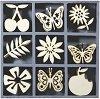 Дървени фигурки - Пеперуди, цветя и плодове - Комплект от 45 броя в кутия -