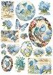 Декупажна хартия - Птици и пеперуда - Формат А4 -
