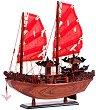 Джонка с алени платна - Декоративен кораб от дърво -