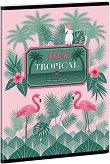 Ученическа тетрадка - Pink Flamingo : Формат А5 с широки редове - 40 листа - тетрадка
