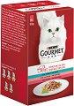 Gourmet Mon Petit Fish Selection - Рибни филета в сос за котки в зряла възраст - опаковка от 6 пауча x 50 g -