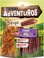Adventuros Strips Venison Wild Flavour - Лакомство с аромат на еленско месо за кучета в зряла възраст - опаковка от 90 g -