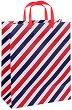 Торбичка за подарък - Сини и червени райета - Размери 26.5 x 34 cm -