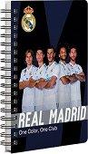 Бележник със спирала - ФК Реал Мадрид : Формат А6 с широки редове -