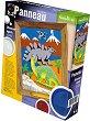 """Създай и оцвети  барелефно пано с цветен пясък - Динозаври - Творчески комплект от серията """"Panneau"""" -"""