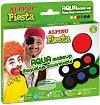 """Бои за лице в класически цветове - Комплект от 6 цвята и четка от серията """"Fiesta"""" -"""