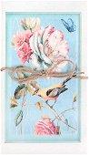 Поздравителна картичка - Птица и рози -