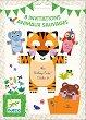 Покани за парти - Животните от джунглата - Комплект от 8 броя -