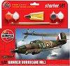 Бритенски военен самолет -  Hawker Hurricane MkI - Сглобяем авиомодел - комплект с лепило и боички -