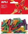 Цветни дървени щипки - Комплект от 45 броя с дължина 25 mm -