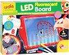 """Детска дъска за рисуване с LED светлини - Комплект с 3 флуоресцентни флумастера от серията """"Carotina Preschool"""" -"""