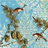 Салфетки за декупаж - Птици с орнаменти - Пакет от 20 броя -