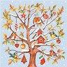 Салфетки за декупаж - Снежно дърво с птички - Пакет от 20 броя -