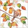 Салфетки за декупаж - Есенни червеношийки - Пакет от 20 броя -
