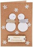 Поздравителна картичка - Снежни човеци -