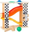 Дървена писта с топчета - Комплект за игра с количка и чукче -