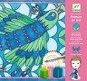 Оцвети сама копринен шал - Peacock - Творчески комплект с бои -