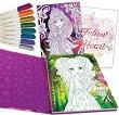 Hazelia: Комплект от книжка за оцветяване + 8 гел флумастера -