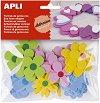 Самозалепващи фигурки от EVA пяна - Цветя - Комплект от 40 броя -