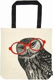 Текстилна чанта за книги - Бухал с очила -