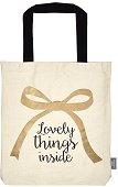Текстилна чанта за книги - Lovely Things Inside -