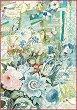 Декупажна хартия - Букет цветя с надписи - Формат А4