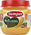 Semper - Био пюре от царевица и сладки картофи - Бурканче от 125 g за бебета над 4 месеца -