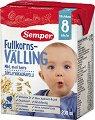 Semper - Течен млечен пълнозърнест велинг с овес - Опаковка от 200 ml за бебета над 8 месеца -