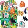 """В джунглата - Пъзел и 5 дървени фигурки : От серия """"Headu: Метода Монтесори"""" -"""