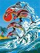 Рисуване по номера - Делфини - Комплект за картина с размери 22.5 x 30.5 cm -