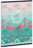 Ученическа тетрадка - Pink Flamingo : Формат А5 с широки редове - 40 листа -
