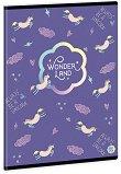 Ученическа тетрадка - Wonderland Unicorn Формат А5 с широки редове - тетрадка
