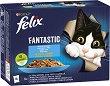 Felix Fantastic with Fish in Jelly - Четири вида риба в желе за котки в зряла възраст - опаковка от 12 пауча x 100 g -