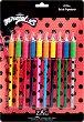 """Цветни моливи - - Комплект от 10 броя от серията """"Мега-чудесата на Калинката и Черния котарак"""""""