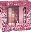 Подаръчен комплект - Maybelline Lash Sensational & Burgundy Bar - Спирала за обемни мигли и палитра сенки за очи -