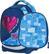 Ученическа раница с две лица - Petit: Denim Heart - В комплект с папка -