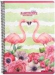Ученическа тетрадка със спирала - Flamingo : Формат A4 с широки редове - 80 листа -