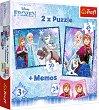 Замръзналото кралство - 3 в 1 - Комплект от 2 пъзела и мемо игра -