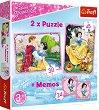 """Снежанка - 3 в 1 - Комплект от 2 пъзела и мемо игра от серията """"Принцесите на Дисни"""" -"""
